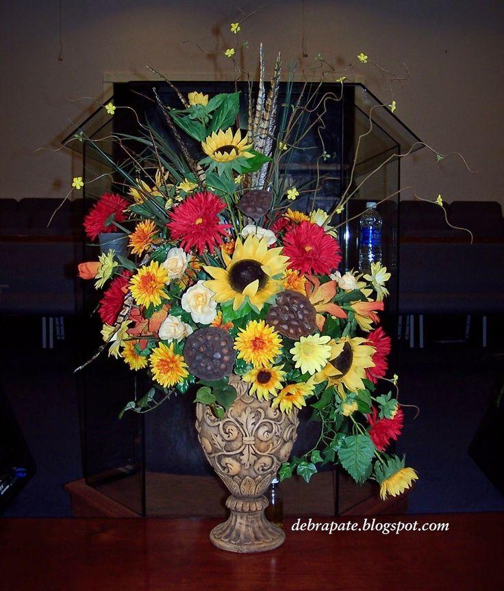 Fall church flower arrangement sunflowers daisies mums