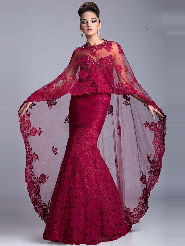 Trumpet/Mermaid Sleeveless Sweetheart Floor-Length Lace Applique Dresses