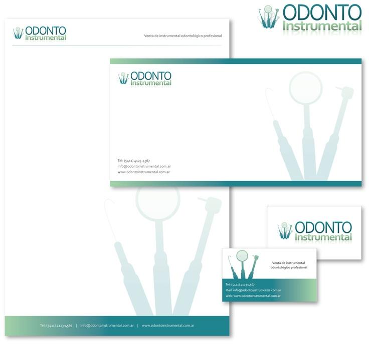 Diseño de identidad corporativa para Odonto Instrumental.  Logotipo + Papelería (tarjetas, hoja membretada, sobres y flyer)