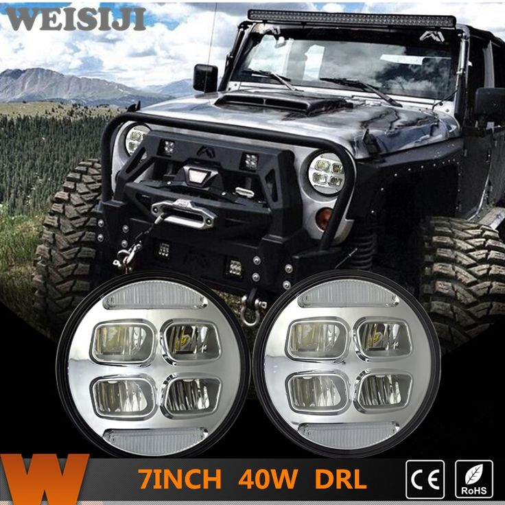 166.99$  Watch now - http://alisia.worldwells.pw/go.php?t=32747936990 - WEISIJI 1 Set/2Pcs 7'' LED Headlights for Jeep Wrangler Hummer Trucks Harley Motorcycle High/Low Beam with DRL Driving Light 40W