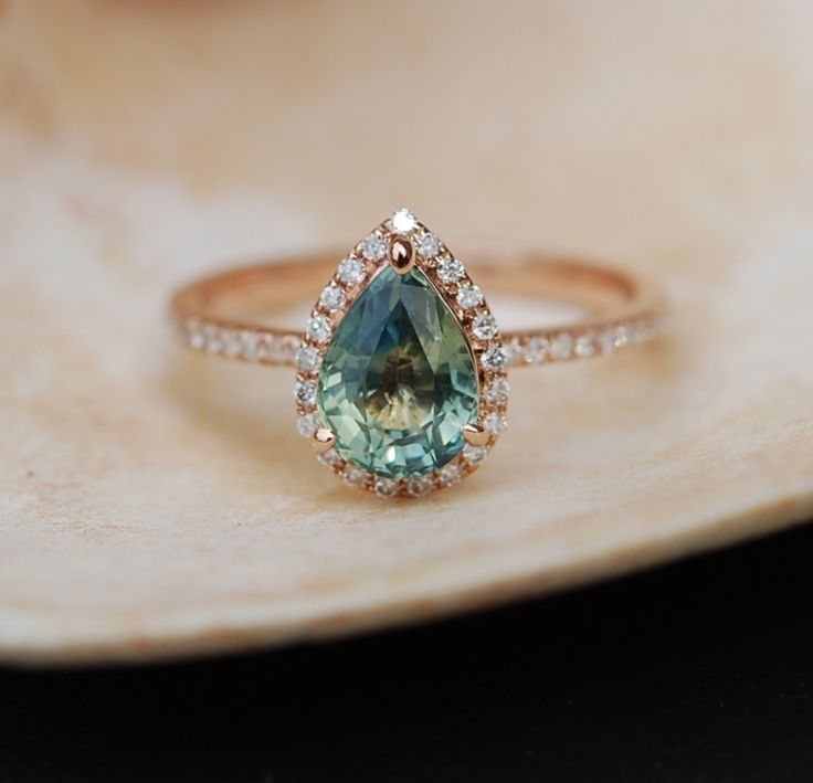 Rose Gold Engagement Ring Teal Blue Green Sapphire pear cut halo engagement  ring 14k rose gold