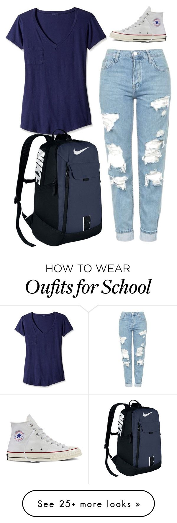 """clasic/comfortable outfit to go to the univ/school"" by guadalupebellorin on Polyvore featuring LAmade, Topshop, NIKE and Converse"
