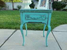 French Garden Treasures: French Garden Treasures Romantic Teal Nightstand $250 SOLD.SOLD