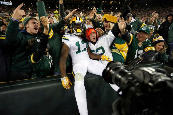 Thursday Night Football: Bears vs. Packers  -  October 20, 2016  -  26-10, Packers  - Green Bay Packers wide receiver Davante Adams (17) celebrates a touchdown with fans during the second half of an NFL football game against the Chicago Bears, Thursday, Oct. 20, 2016, in Green Bay, Wis.