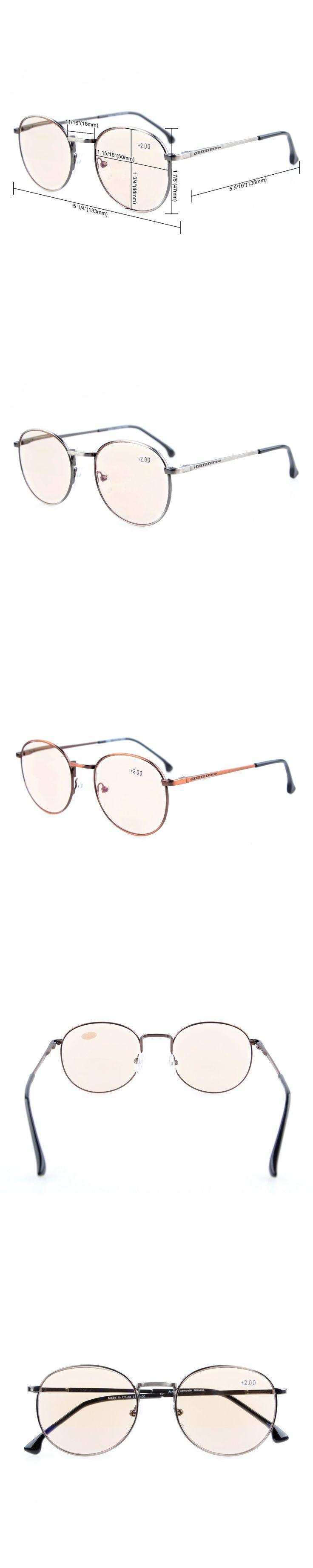 CG1619 Eyekepper Anti Glare Glasses Amber Tinted Lenses Computer Reading Glasses Quality Spring Hinges Large Round Retro Glasses