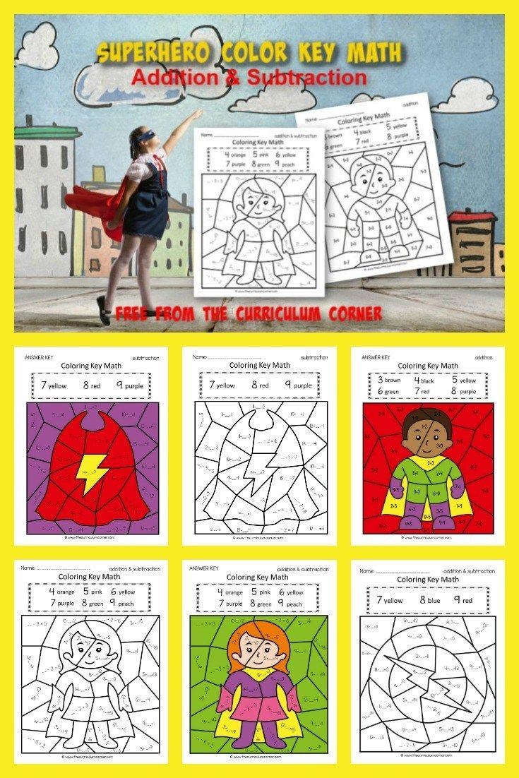 Superhero Color Key Addition Subtraction Superhero Math Activities Math Facts Addition Math Fact Practice [ 1102 x 735 Pixel ]