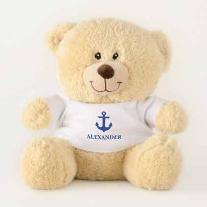 Kids Name Nautical Blue Anchor Small Teddy Bear - kids kid child gift idea diy personalize design