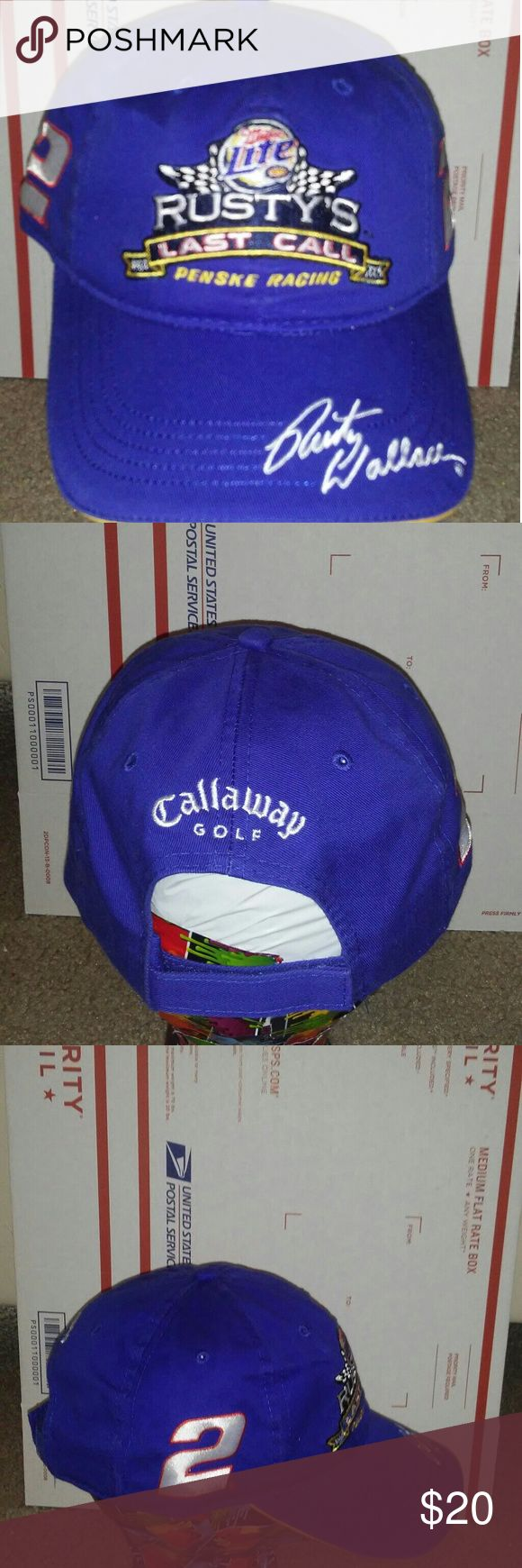 """Rusty Wallace """"Rusty's Last Call"""" Hat Cap nascar Rusty Wallace  Rusty's Last Call Hat  Callaway GolfMiller Lite Penske Racing Nascar   Brand New old stock  See pics for best description Callaway Accessories Hats"""