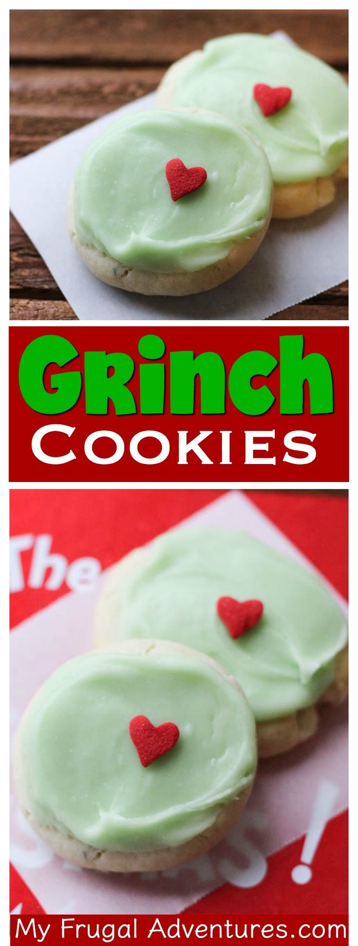 These Grinch cookies are so easy to make and absolutely adorable for Christmas.  Perfect for parties or to leave behind for Santa.