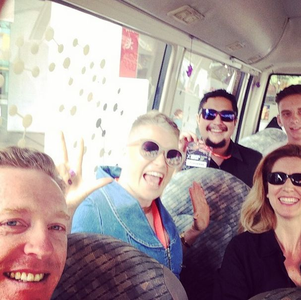 Singapore indesign heating up on the bus!!! #yay #sgid2014 #newfriends