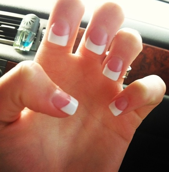 Regular Acrylic White Tipped Nails