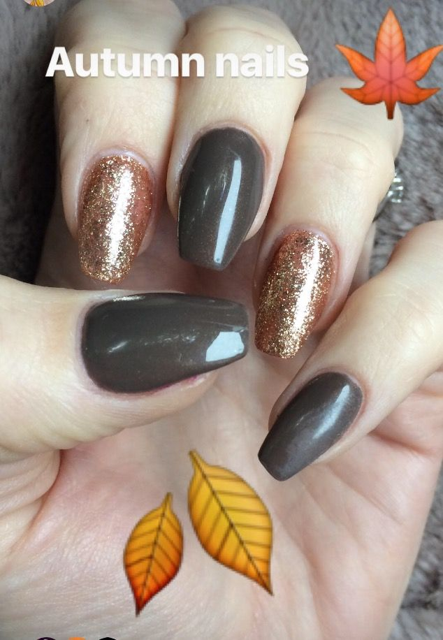 Autumn Nails Acrylic Brown And Orange Gold Fall Acrylic Nails Orange Nails Nails