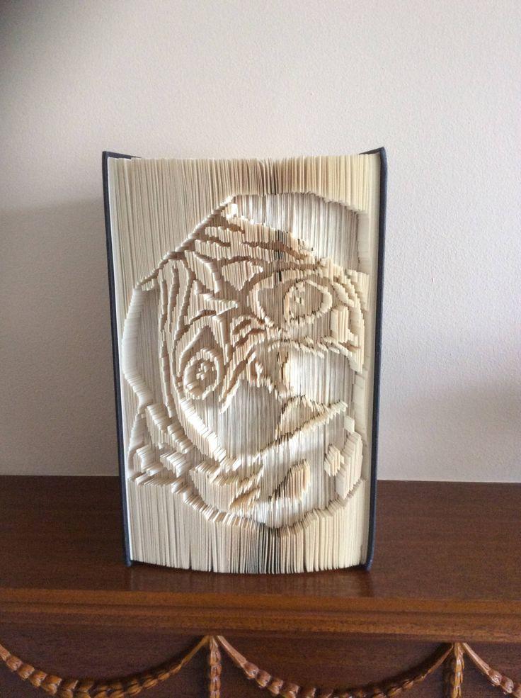 Handmade Folded Book Art, Pug design by BookArtBeauty on Etsy