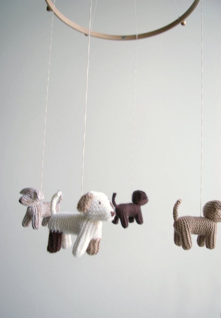 Baby  mobile - nursery mobile - baby crib mobile - dogs mobile - FLYING PUPPIES- baby gift - made to order. $99.00, via Etsy.