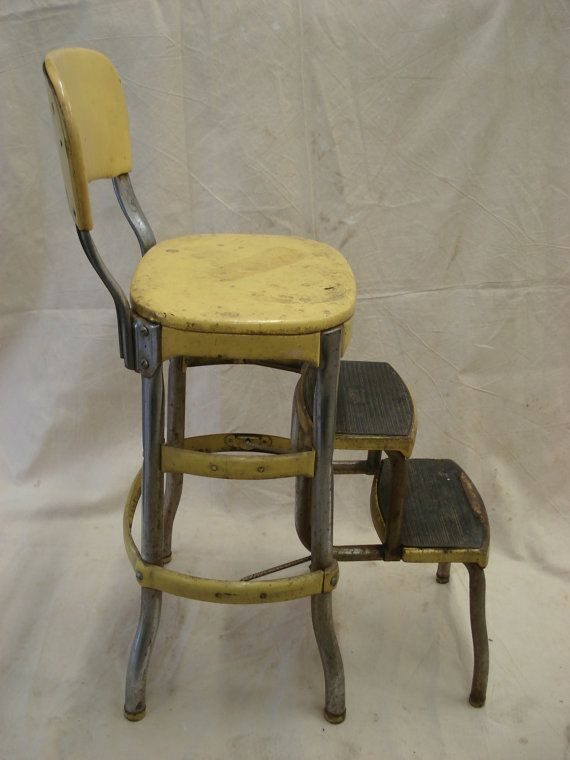 Vintage metal YELLOW Folding Costco Chair Step Stool fold out chrome Kitchen