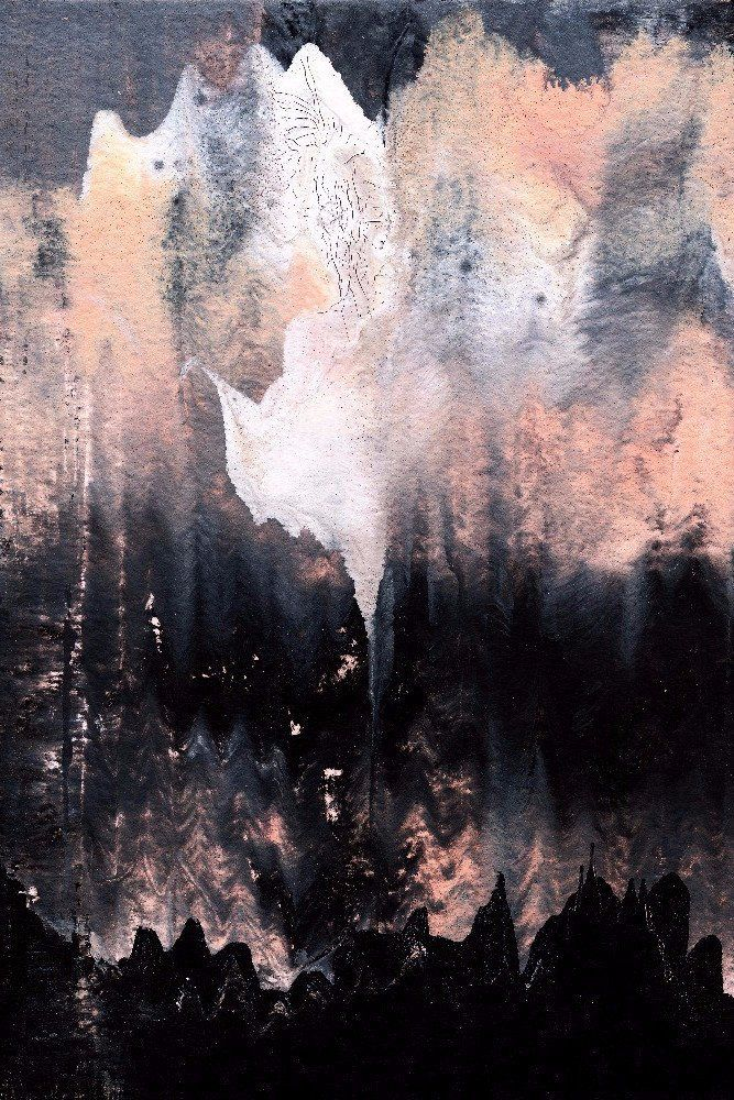 """""""Ghost in the Mountains"""" by Julie Tillman is an abstract watercolor and mixed painting. Create a home you love with the addition of this on trend, original watercolor style wall art. It would look lov"""