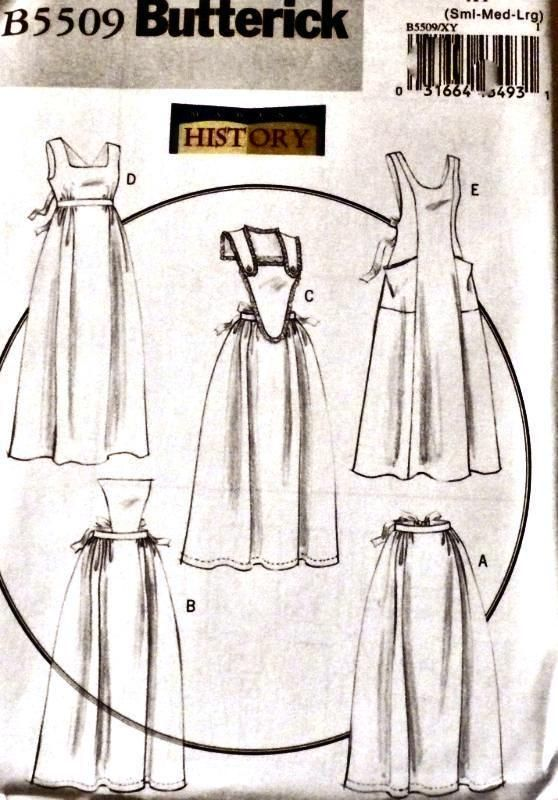 Misses Histoical Long Aprons  Pattern   Butterick Pattern 5509  New Uncut Factory Folded  Collectible from 2010  Includes 5 Styles of  Historical  Long Aprons to  make !  Misses Size= 8, 10, 12, 14, 16, 18