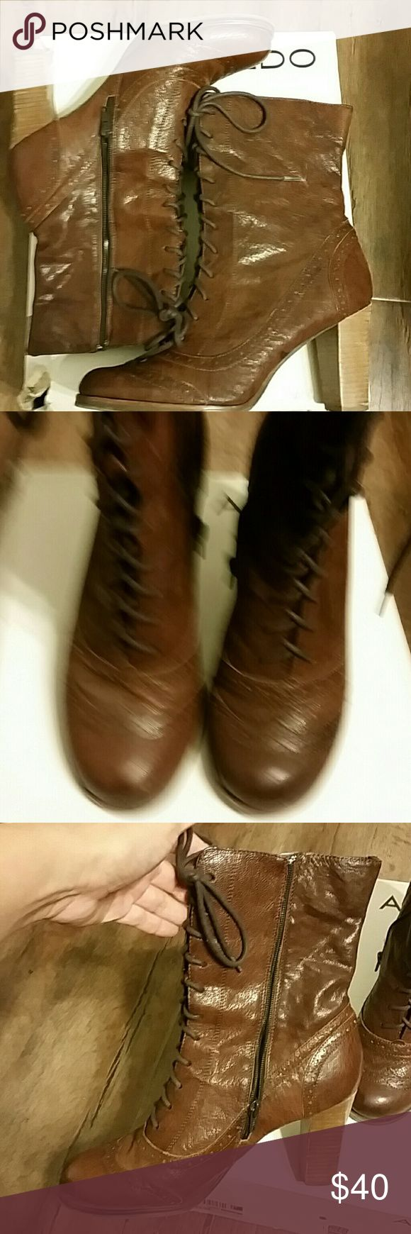 Beautfuil Aldo size 10 half calfs! Jelly Aldo boots....excellent condition! Beautiful brown heel is the 3.5 to high for me. Beautiful brown would make any outfit look amazing! Aldo Shoes Ankle Boots & Booties