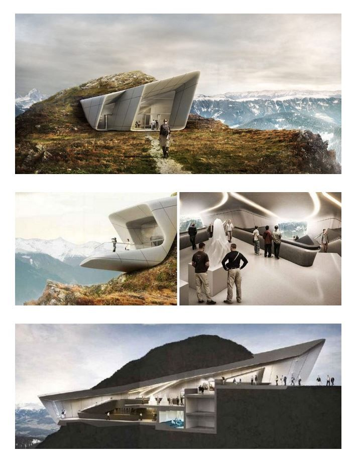 The Messner Mountain Museum's sixth structure at Plan de Corona is designed by Zaha Hadid.