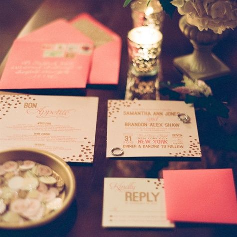 Coral and Gold Confetti inspired wedding invites