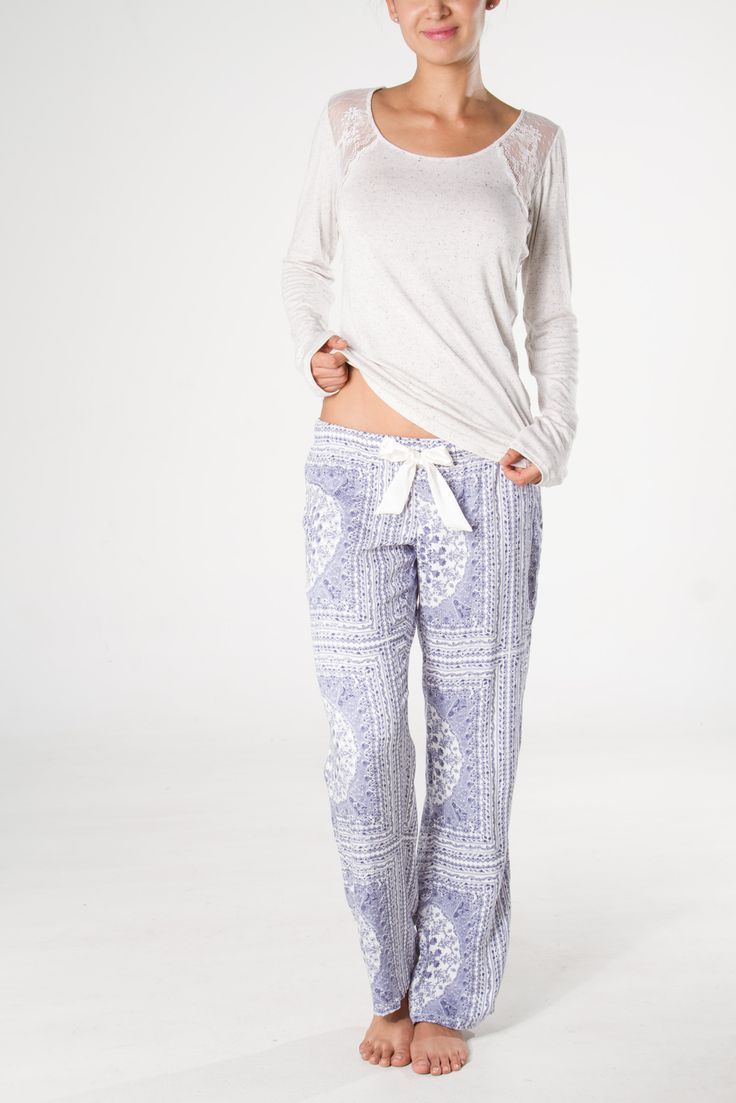 Rayon blue square pants, with silk bow