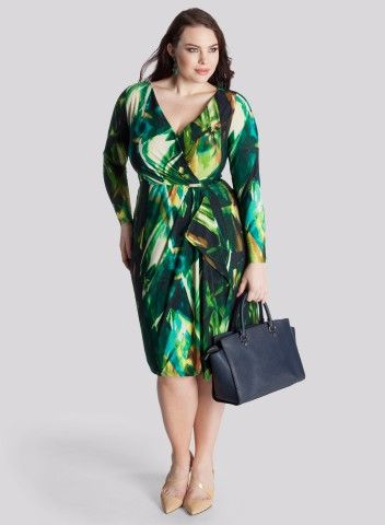 Igigi Garnet Dress in Beryl Chartreuse - one to give confidence and make you stand out- pattern detracts from size and the wrap cinches in at the waist