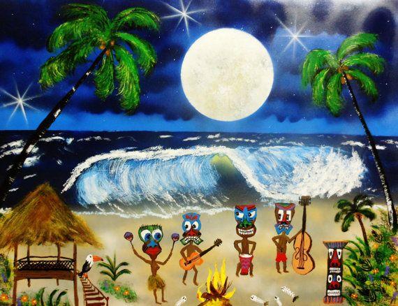 "Tiki Band 22"" x 28""  Tiki bar art painting,  tiki wall decor,  polynesian art decor"