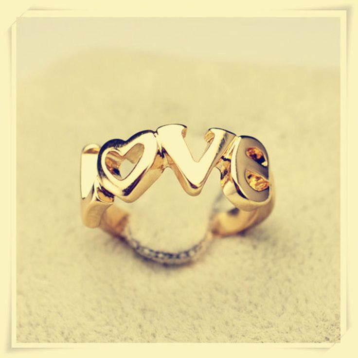 New fashion jewelry LOVE letter finger ring gift for women ladies girl R1076