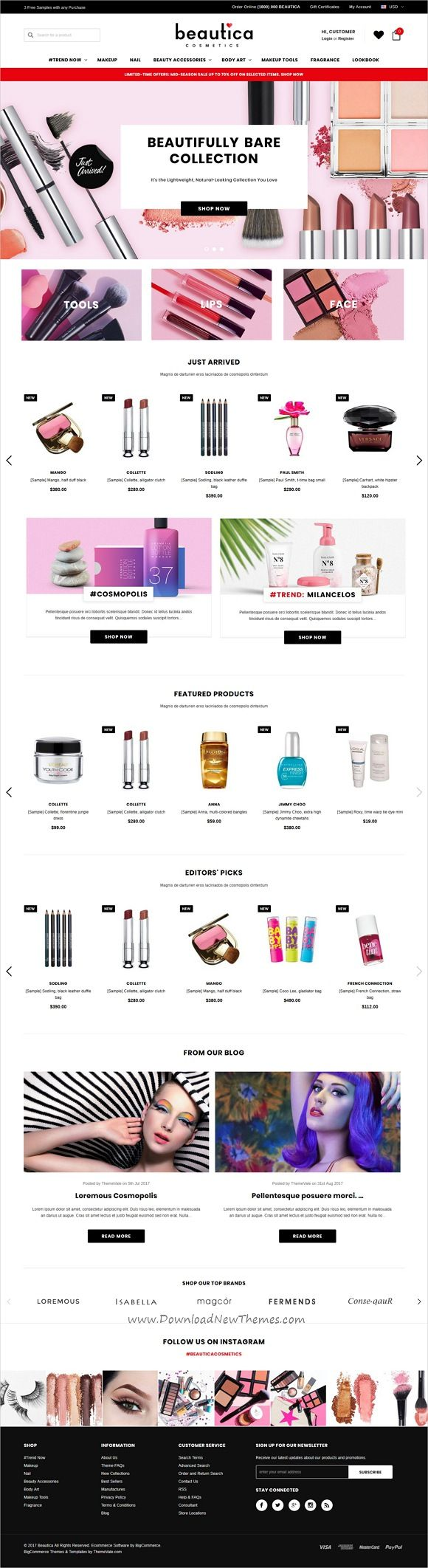 Beautica is clean and modern design responsive #BigCommerce template for stunning #cosmetics shop #eCommerce website download now..