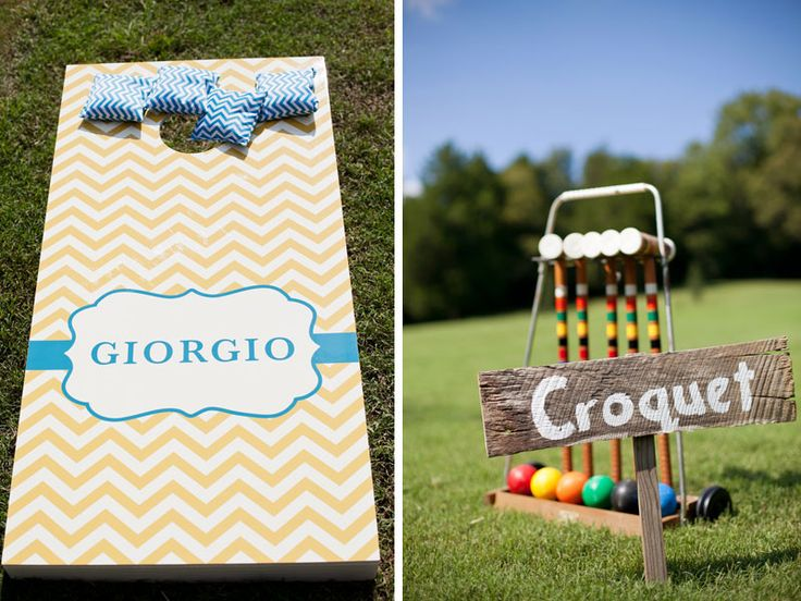 lawn games at your wedding- love the branding and signs!! photo by Jen and Chris Creed