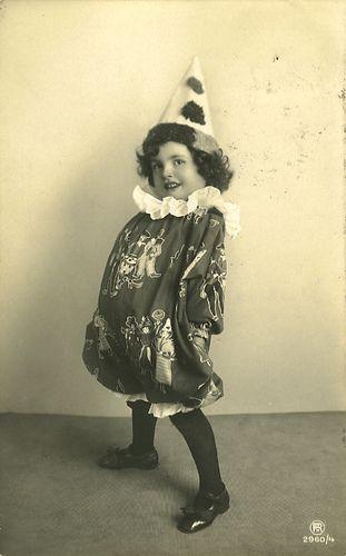 https://flic.kr/p/3dd1HL | Vintage Postcard ~  Cute Clown Girl