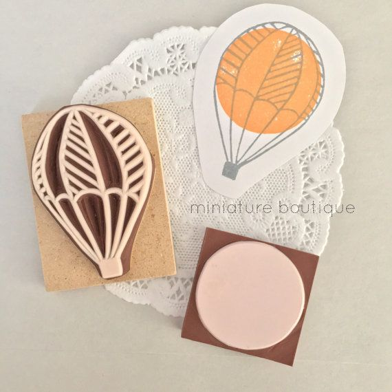 Hot Air Balloon stamp  Hand Carved Rubber by miniatureboutique