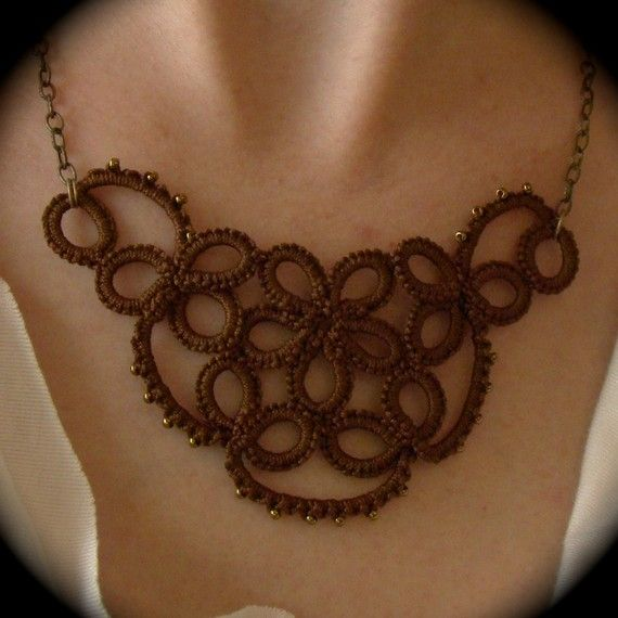 Tatted Lace Necklace Studded Flower Sepia Edition by TotusMel