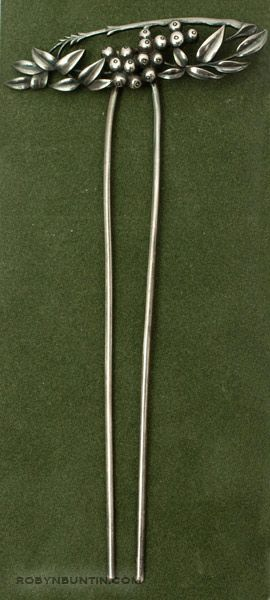 Silver Floral Hairpin by Anonymous (Japanese Jewelry)
