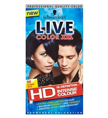 Schwarzkopf Live Color Xxl Hd 90 Cosmic Blue Permanent Blue Hair Dye - Pack of 2 * Click image for more details.
