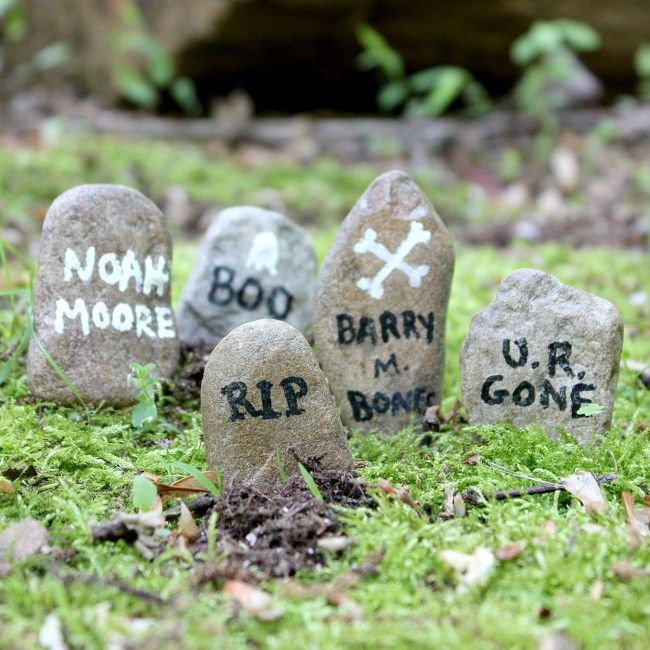 mini gravestones for a spooky fairy garden or Halloween terrarium.