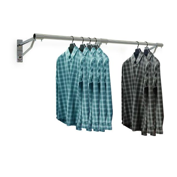 A cost effective and heavy duty wall mounted display system, the Europa clothes and garments rail range is designed