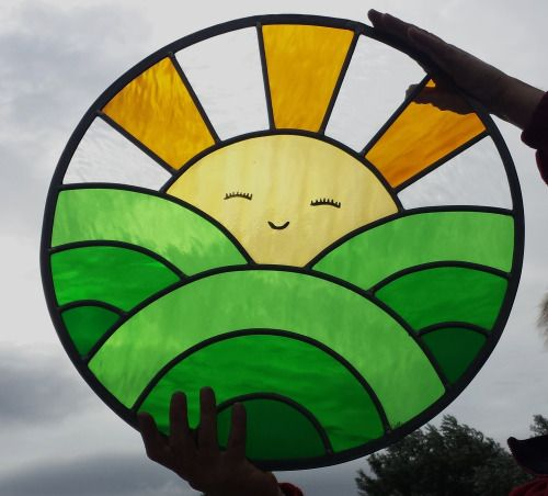newglassworks:Cheerful sun panel, another commision I have just completed.