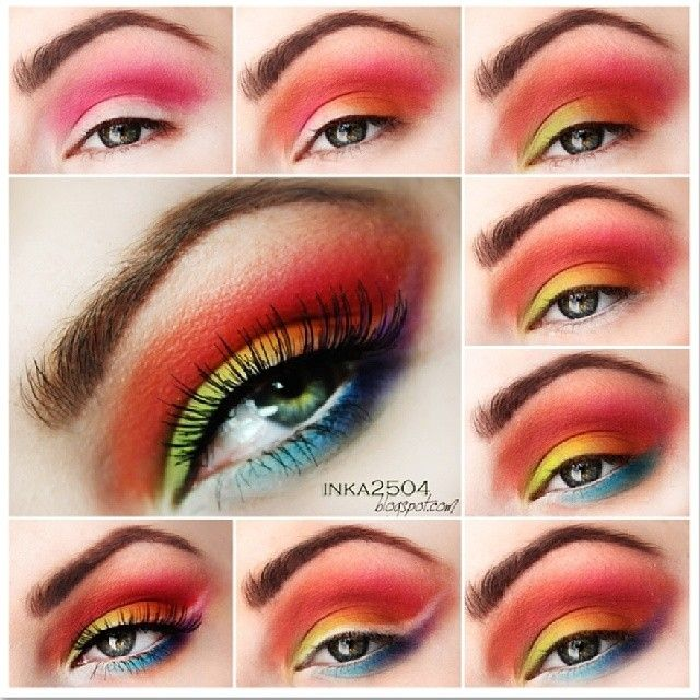 Tropical eye makeup #tutorial #maquiagem #vermelha #evatornadoblog Тропический макияж - урок