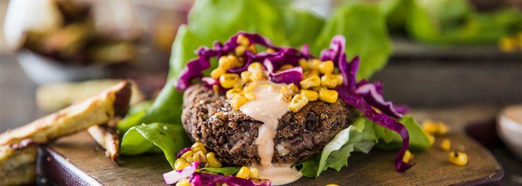 Southwest Black Bean Burger with Cumin Yam Fries