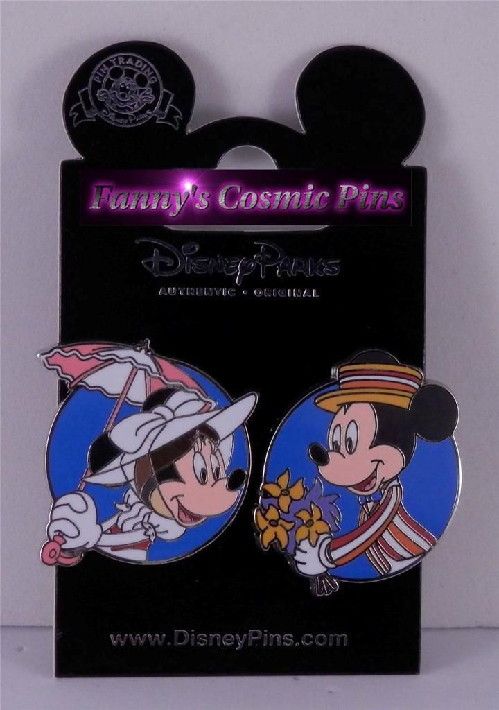 "Disney Mickey & Minnie Mouse as ""Bert & Mary Poppins"" 2PC Trading Pin Set 