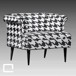 Sessel HOUNDSTOOTH, Loungesessel schwarze/weiß
