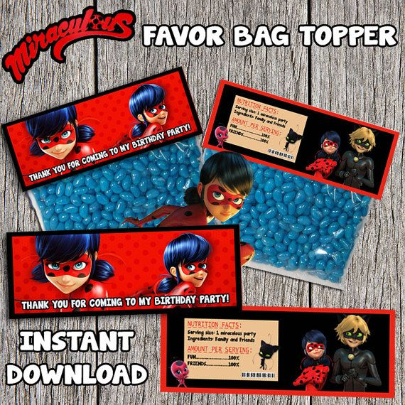 Miraculous Ladybug Birthday Favor Bag Topper by ...