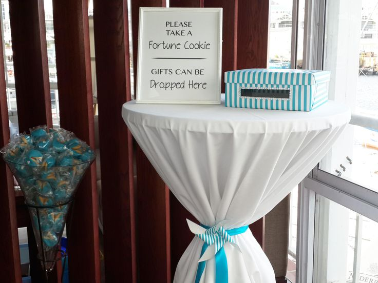 21st Birthday entrance decor - fortune cookies on arrival and themed box for gifts!