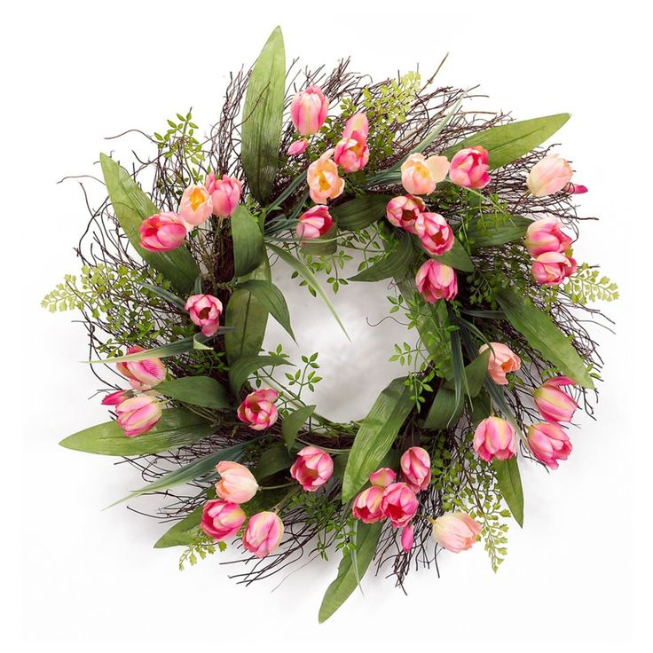 Spring Pink Tulip Wreath So Pretty! Spring Pink Tulip Wreath will look beautiful in any room you put it in! Great Wreath for Easter too.Spring Tulip Wreath Melrose International Tulip Wreath 24-in http://kittykatkoutique.com/spring-pink-tulip-wreath-so-pretty/