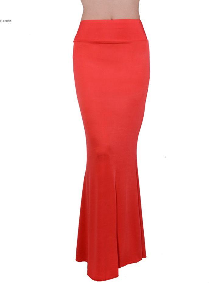 Один размер юбки для женщин Карамельный Цвет Лето Макси рыбий хвост юбка длинная эластичная Высокая талия длиной до пола повседневная юбка карандаш купить на AliExpress