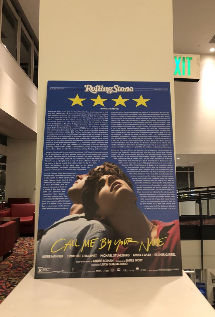 Call Me By Your Name poster in my local theater.