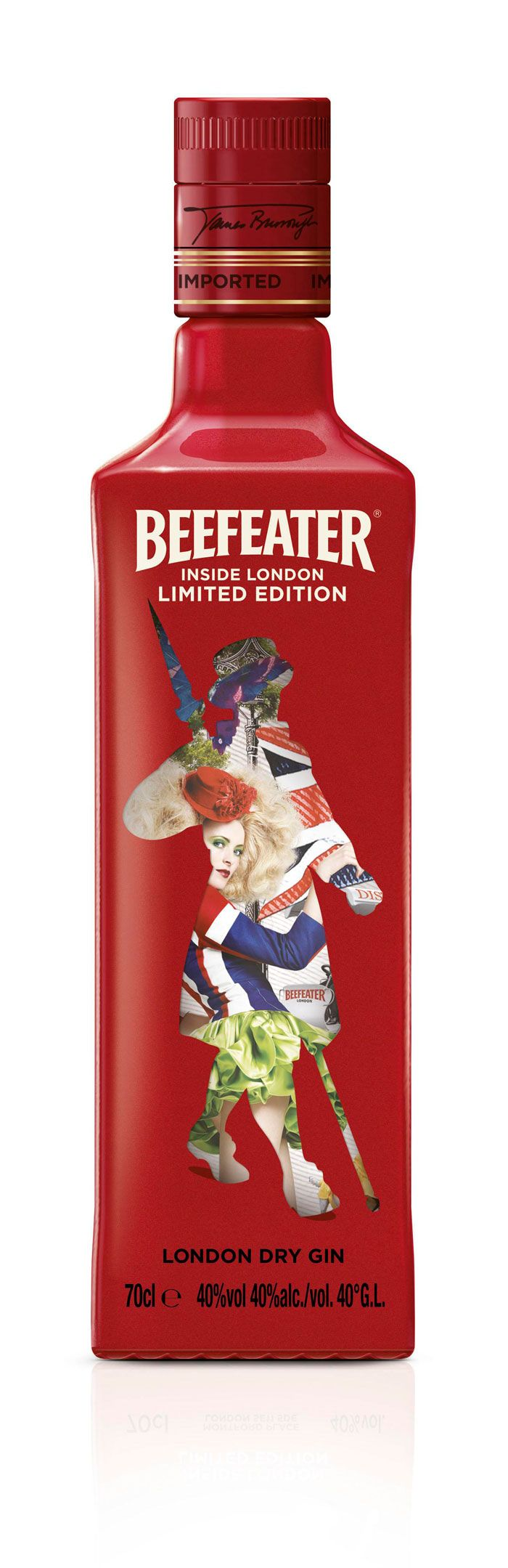 Special shrink sleeve label that features 'all things london' w/in the traditional royal guard : #Beefeater