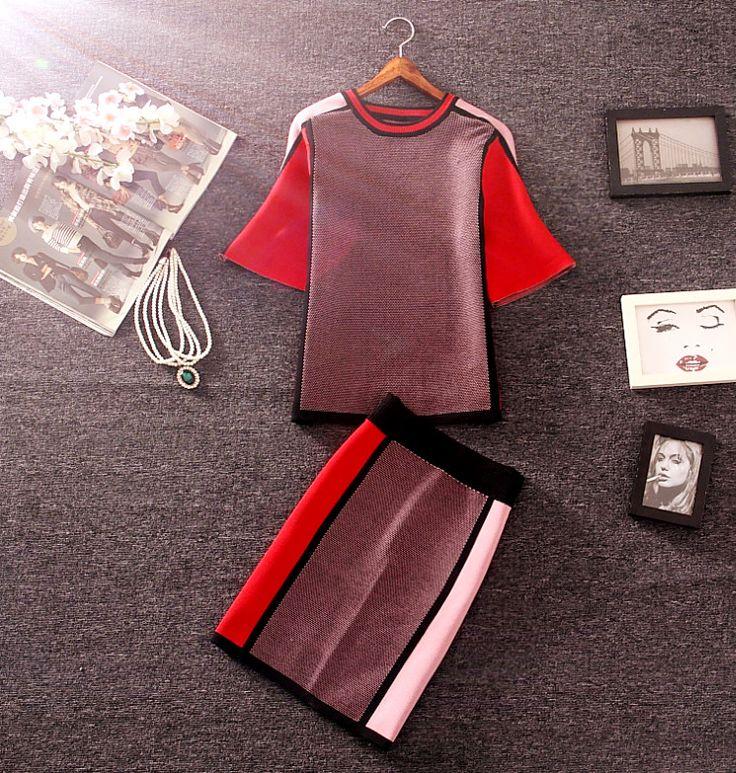 秋新しい女性コントラストカラー編みスカートセット半袖プルオーバーセーターとミニスカートレディースカジュアルセット