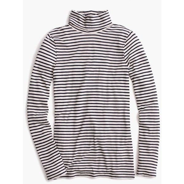 J.Crew Tissue Turtleneck T-Shirt ($53) ❤ liked on Polyvore featuring tops, t-shirts, stripe tee, pink top, j crew t shirts, striped turtleneck and tissue tee